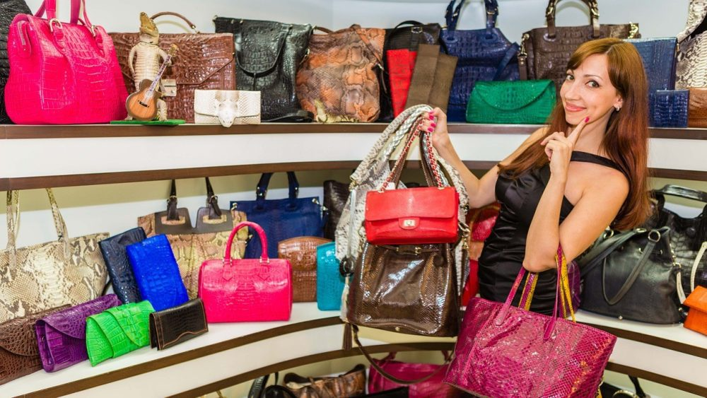 Woman with handbags