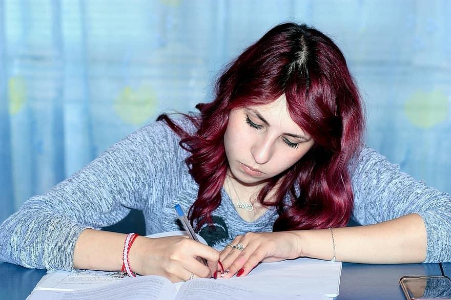 A Girl Writing Essay