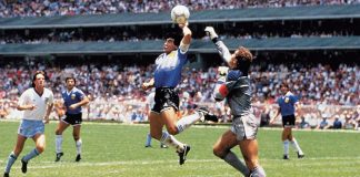 Controversial goal Hand of God