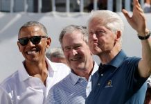Barack Obama, George W Bush and Bill Clinton