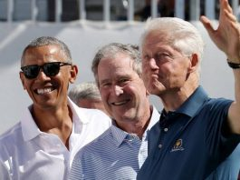 Barack Obama, George W Bush and Bill Clinton
