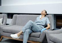 Nurse in a Sofa set