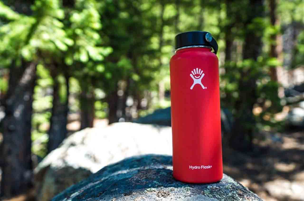 hydro flask on a rock